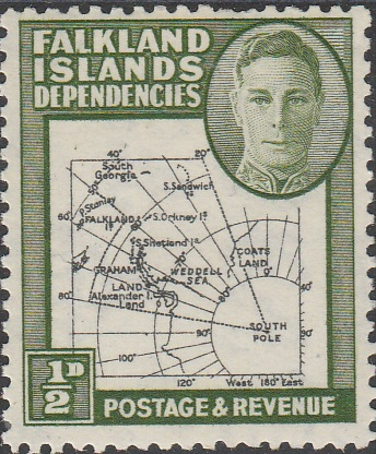 Falkland Islands Dependencies 1946-49 KG6 Thick Maps 1/2d unmounted mint SG G1
