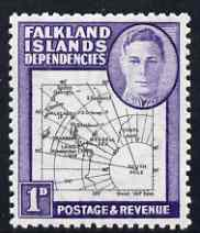 Falkland Islands Dependencies 1946-49 KG6 Thick Maps 1d unmounted mint SG G2
