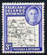 Falkland Islands Dependencies 1946-49 KG6 Thick Maps 3d unmounted mint SG G4