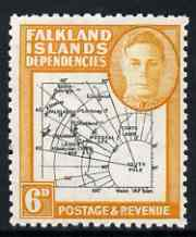 Falkland Islands Dependencies 1946-49 KG6 Thick Maps 6d unmounted mint SG G6