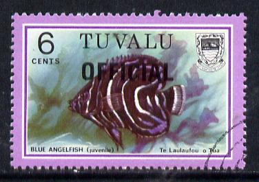 Tuvalu 1981 Official opt on 6c Angelfish (litho opt) SG O5a fine used (gutter pairs pro rata)