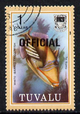 Tuvalu 1981 Official opt on $1 Triggerfish (litho opt) SG O17a fine used (gutter pairs pro rata)