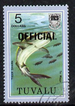 Tuvalu 1981 Official opt on $5 Tiger Shark (litho opt) SG O19a fine used (gutter pairs pro rata)