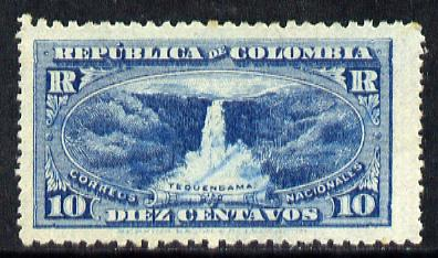Cinderella - Colombia 1917 Registration stamp 10c blue (Tequendama Falls) used (ie m/s cancel)