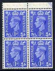 Booklet Pane - Great Britain 1950-52 KG6 1d light ultramarine booklet pane of 4 unmounted mint selvedge at top, wmk upr SG spec QB16