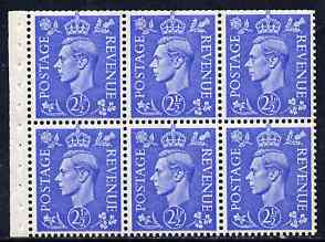 Booklet Pane - Great Britain 1941-42 KG6 2.5d light ultramarine booklet pane of 6 with inverted watermark unmounted mint SG spec QB33a