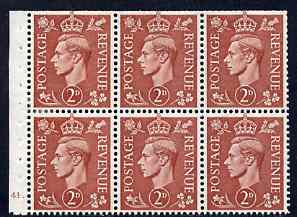 Booklet Pane - Great Britain 1950-52 KG6 2d pale red-brown booklet pane of 6 with cyl No H41 dot mounted mint SG spec QB31