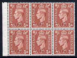 Booklet Pane - Great Britain 1950-52 KG6 2d pale red-brown booklet pane of 6 with inverted watermark unmounted mint SG spec QB33a