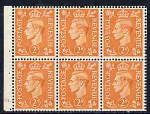 Booklet Pane - Great Britain 1950-52 KG6 2d pale orange booklet pane of 6 with cyl No H31 dot mounted mint SG spec QB30
