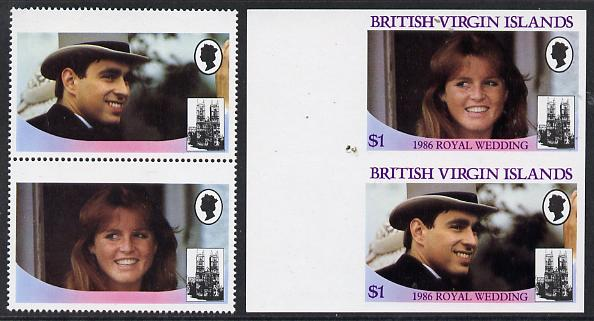 British Virgin Islands 1986 Royal Wedding $1 se-tenant pair with Country name & value omitted, plus imperf pair as normal, all unmounted mint, SG 607avar