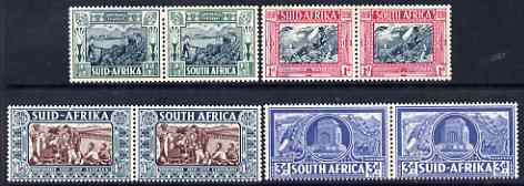 South Africa 1938 KG6 Voortrekker Centenary Memorial Fund set of 8 (4 horiz se-tenant pairs) lightly mounted mint SG 76-79