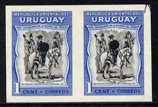 Uruguay 1952 Death Centenary of General Artigas 1c (Artigas on horseback) imperf proof pair in issued colours with security punch holes & minor wrinkles (ex Waterlow archives) As SG 1010