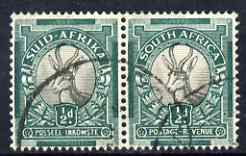 South Africa 1933-48 Springbok 1/2d P14 wmk upright used horiz pair SG54aw