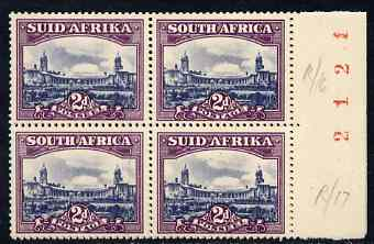 South Africa 1947-54 Union Buildings 2d slate & purple horiz pair unmounted mint SG116