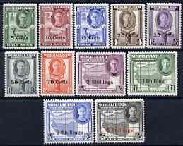 Somaliland 1951 KG6 Surcharged set 11 values complete 5c to 5s fine mounted mint SG 125-35