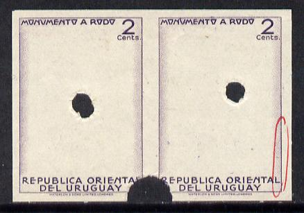 Uruguay 1948 Monument to Rodo (Writer) 2c (Statue of Rodo) imperf proof pair of frame only in issued colour with security punch holes & slight soiling (ex Waterlow archives) As SG 979