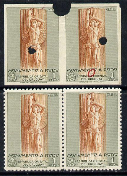 Uruguay 1948 Monument to Rodo (Writer) 1c (Statue of Ariel) imperf proof pair in issued colours with security punch holes & slight soiling plus issued stamp (ex Waterlow archives) As SG 978
