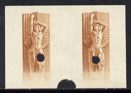 Uruguay 1948 Monument to Rodo (Writer) 1c (Statue of Ariel) imperf proof pair of vignette only in issued colour with security punch holes & slight soiling (ex Waterlow archives) As SG 978, plus issued stamp