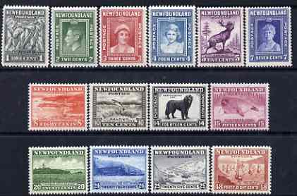 Newfoundland 1941-44 KG6 Pictorial set complete 1c to 48c fresh mounted mint SG 276-89