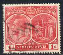 St Kitts-Nevis 1920-22 KG5 MCA Medicinal Spring 1d scarlet used SG25, stamps on , stamps on  kg5 , stamps on