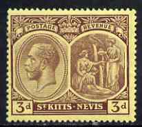 St Kitts-Nevis 1920-22 KG5 MCA Medicinal Spring 3d purple on yellow mounted mint SG29