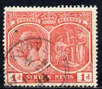 St Kitts-Nevis 1921-29 KG5 Script CA Medicinal Spring 1d red used SG38, stamps on , stamps on  kg5 , stamps on