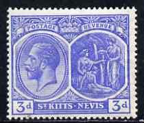 St Kitts-Nevis 1921-29 KG5 Script CA Medicinal Spring 3d blue mounted mint SG45