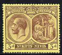 St Kitts-Nevis 1921-29 KG5 Script CA Medicinal Spring 3d purple on yellow unmounted mint SG45a