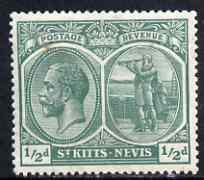 St Kitts-Nevis 1921-29 KG5 Script CA Columbus 1/2d blue-green mounted mint SG37/a