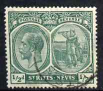 St Kitts-Nevis 1921-29 KG5 Script CA Columbus 1/2d blue-green used SG37/a