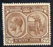 St Kitts-Nevis 1921-29 KG5 Script CA Columbus 2.5d brown unmounted mint SG43