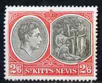 St Kitts-Nevis 1938-50 KG6 2s6d P14 mounted mint SG76ab