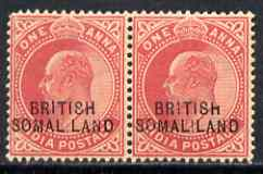 Somaliland 1903 KE7 opt at bottom on 1a horiz pair, one with