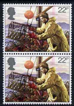 Great Britain 1981 Fishing 22p vert pair with fine doctor blade flaw in rose affecting both stamps unmounted mint, SG 1168var