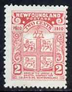 Newfoundland 1910 Arms 2c rose P12 mounted mint SG96