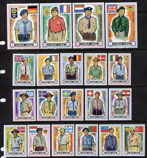 Ajman 1971 Scouts perf set of 20 unmounted mint (Mi 904-23A)