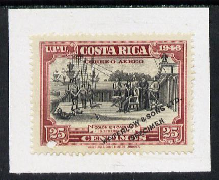Costa Rica 1947 colour trial proof of 25c (Columbus on ship at Cariari) in black & claret affixed to small piece opt