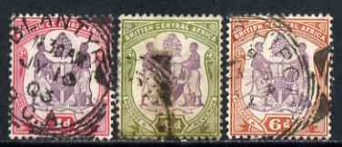 Nyasaland 1901 BCA set of 3 rather heavily used SG 57d-58
