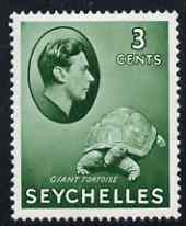 Seychelles 1938-49 KG6 Tortoise 3c green mtd mint SG136