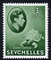 Seychelles 1938-49 KG6 Tortoise 3c green unmounted mint SG136