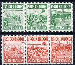 Australia 1953 Food Production set of 6 (2 se-tenant strips of 3) mtd mint SG 255a-58a