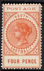 South Australia 1902-04 Thin Postage 4d red-orange mounted mint SG 269