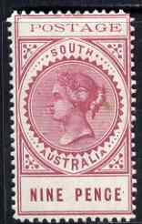 South Australia 1902-04 Thin Postage 9d rosy lake mounted mint SG 273