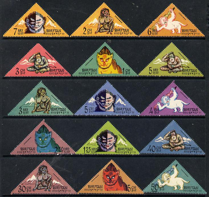 Bhutan 1966 Abominable Snowman triangular set of 15 complete unmounted mint, SG 92-106