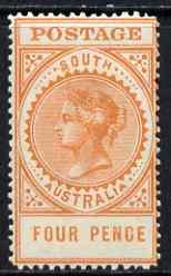 South Australia 1906-12 Thick Postage 4d orange 'A' wmk mounted mint SG 299a