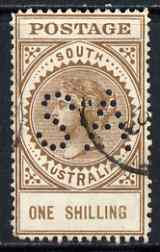 South Australia 1906-12 Thick Postage 1s brown 'A' wmk with 'SA' perfin used