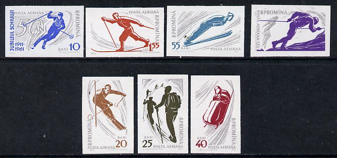 Rumania 1961 Winter Sports imperf set of 7, SG 2827-33, Mi 1965-71