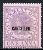 India 1869 QV Revenue 1a opt'd CANCELLED superb unmounted mint