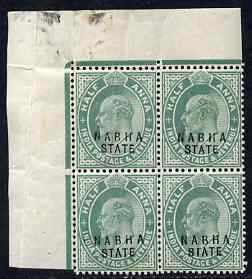 Indian States - Nabha 1903-09 KE7 1/2a green corner block of 4, one stamp with