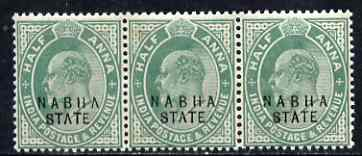 Indian States - Nabha 1903-09 KE7 1/2a green strip of 3, one stamp with